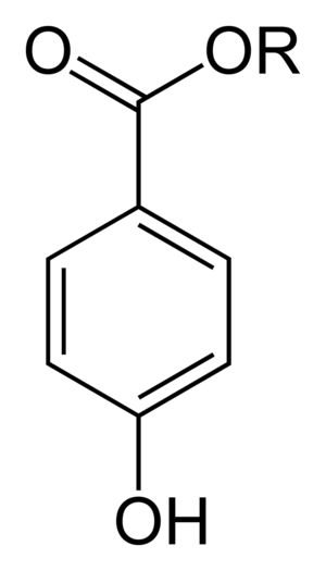 Paraben - General chemical structure of a paraben (a para-hydroxybenzoate) where R = an alkyl group