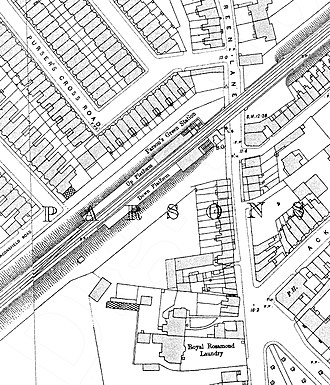 Parsons Green tube station - Image: Parsons Green tube station 1890s Ordnance Survey map