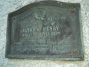 Leatherwood Plantation - Boulder and plaque marking former location of Leatherwood Plantation in Henry County, Virginia