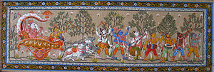 Pattachitra - Pattachitra are based on Hindu Mythology. Depicted here is a parade of the god Ganesha.