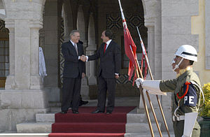 2nd Lancers Regiment (Portugal) - RL2 honor guard for Donald Rumsfeld and Paulo Portas, the US and Portuguese ministers of defense in 2003