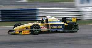 Forti - Pedro Diniz driving the FG01 at the 1995 British GP. He retired on lap 13 with a broken gearbox.