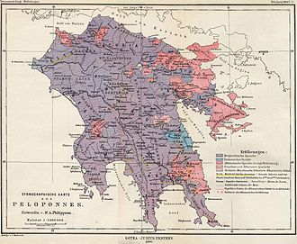Tsakonia - Old ethnographic map of Peloponnese. Tsakonian-speaking areas in sky blue (1890).
