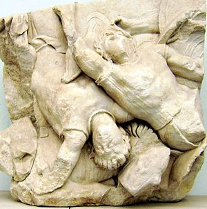 Actaeus - A relief on the interior Telephus frieze of the Pergamon Altar depicting Ajax killing Actaeus and Heloros.