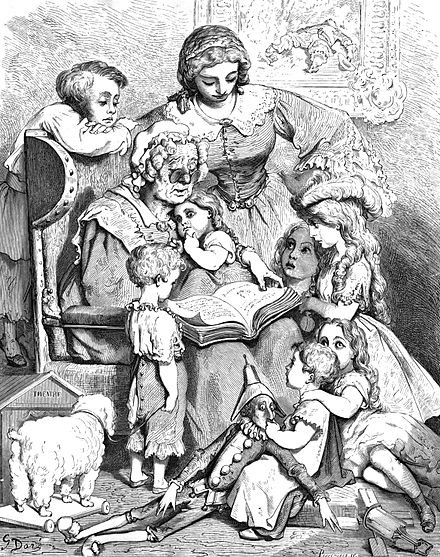 A picture by Gustave Dore of Mother Goose reading written (literary) fairy tales Perrault1.jpg