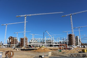 Perth Stadium - Perth Stadium under construction, photographed from Victoria Park Drive in May 2016