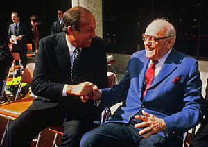 George Halas - Halas (right) with Pete Rozelle in the early 1980s