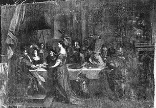 Herodias bringt das Haupt Johannes des Täufers zur Tafel (Kopie nach)