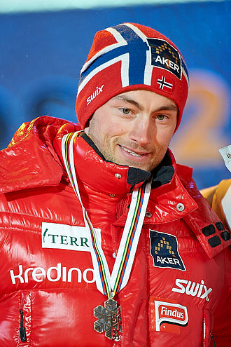 FIS Nordic World Ski Championships 2011 - Petter Northug receiving his silver medal after the men's sprint
