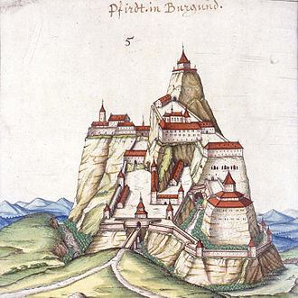 County of Ferrette - The castle of Ferrette, built in 1125, from a drawing of 1589.