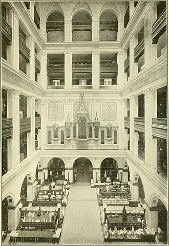 Wanamaker's - The Grand Court in the Wanamaker Store, Philadelphia, showing the Beautiful Facade of the Organ at the South End, 1917