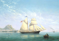 Philip John Ouless - The Jersey trading schooner Seabird heading out from Gorey Harbour, Jersey, with Mont Orgueil Castle beyond.png