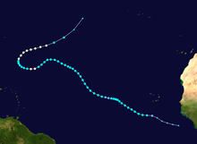 Storm track of a hurricane in the Eastern Atlantic.