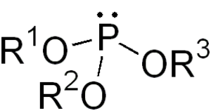 Ester - structure of a generic phosphite ester showing the lone pairs on the P