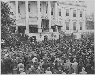 Fourth inauguration of Franklin D. Roosevelt - Image: Photograph of President Franklin D. Roosevelt delivering his fourth Inaugural Address. NARA 199054