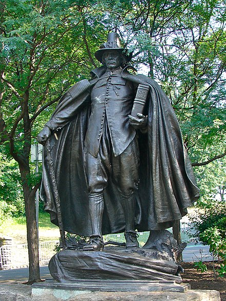 Second version of The Puritan, a late 19th-century sculpture by Augustus Saint-Gaudens. Pilgrim Fairmount 1.jpg