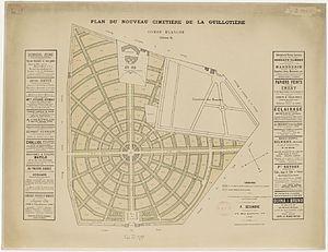 Guillotière Cemetery - Image: Plan du nouveau cimetière de la Guillotière Combe blanche
