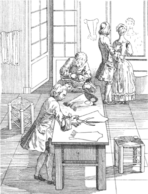 Corsetmaker - Corsetiers cutting out and fitting in the 18th century
