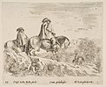 Plate 10- two horsemen descending a mountain at left, another horseman to right in background, from 'Diversi capricci' MET DP817412.jpg