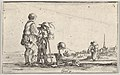 Plate 13- two peasants standing to left, a cripple kneeling on the ground in center, a woman carrying a child seen from behind to right in middleground, a church to right in background, from 'Caprice faict par de la Bella' MET DP831117.jpg