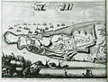 Platte Gront van de Stad en Fort van Koron, Belegert en verovert door de Republik van Venetien des Iaers 1685 - Dapper Olfert - 1688.jpg