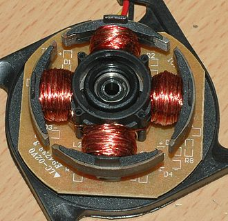 Brushless DC electric motor - The four poles on the stator of a two-phase brushless motor. This is part of a computer cooling fan; the rotor has been removed.