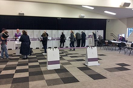 Voting at a polling booth in suburban Melbourne in the 2016 Federal Election Polling place, Melbourne Suburbs, Vic, jjron, 02.07.2016.jpg