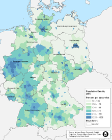 the population density of the new german states is lower than that of the old states