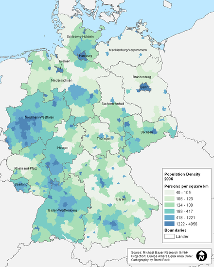 The population density of the new German states is lower than that of the old states.