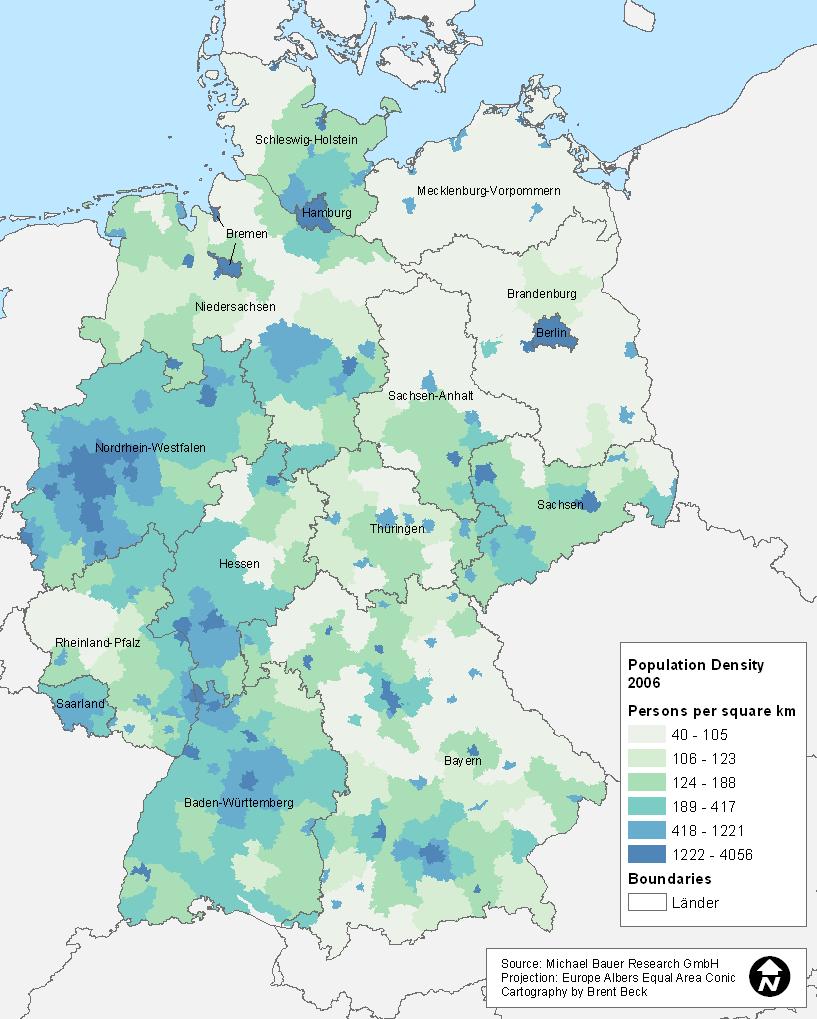 Pop density of Germany