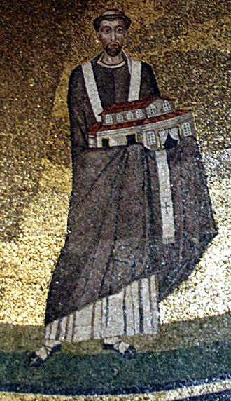 Origins of ecclesiastical vestments - Pope Honorius I (died 638). From a mosaic in Sant'Agnese in Rome