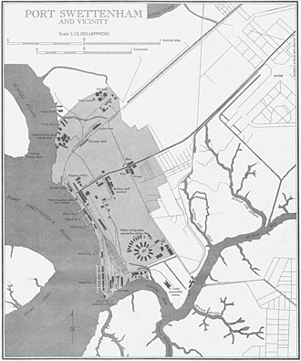Port Klang - Map of Port Swettenham in 1954. This area is now known as Southpoint.