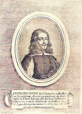 Eustachio Divini - Portrait of Eustachio Divini in Dioptrica Pratica by Carlo Antonio Manzini, Bologna 1660