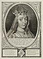 Portret van Margaretha van Beieren, gravin van Henegouwen, Holland en Zeeland, keizerin van het Heilig Roomse Rijk. Ze draagt een sluier en een kroon bezet met parels en edelstenen. De omlij, NL-HlmNHA 1477 53012917.JPG