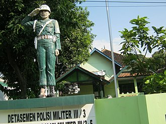 Army Military Police Corps (Indonesia) - A Military Police office with a statue at Kadipaten, Majalengka, West Java