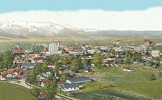 Baker City, Oregon - Aerial view, about 1918