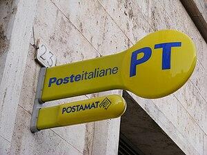 English: Poste Italiane - sign. Seen in Rome.