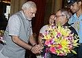 Pranab Mukherjee meeting the Prime Minister, Shri Narendra Modi on the occasion of his ceremonial departure for the State Visit to Vietnam, at Rashtrapati Bhavan, in New Delhi. The Speaker, Lok Sabha.jpg