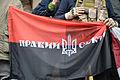 Pravyi Sektor (Right Sector) flag. Euromaidan, Kyiv, Ukraine. Events of February 22, 2014..jpg
