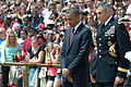President Barack H. Obama, second from right, and U.S. Army Maj. Gen. Michael S. Linnington, the commander of the Military District of Washington, observe a moment of silence in recognition of Memorial Day 130527-A-VS818-193.jpg