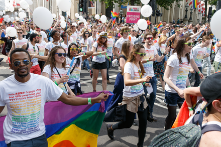 Google employees marching in the Pride in London parade in 2016 Pride in London 2016 - Google participating in the parade.png