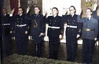 Mladen Lorković - Mladen Lorković (2nd from left) taking oath in April 1941.