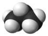 space-filling model of the propane molecule
