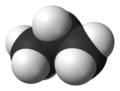 ball-and-stick model of the propane molecule