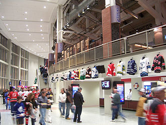 Prudential Center - The lower level Grand Concourse, with the Goal Bar on the upper right, features jerseys from most high school hockey teams in New Jersey.