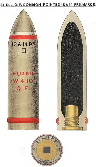 QF 14 pounder Maxim-Nordenfelt naval gun - Image: QF12&14pdr CP Mk II Shell Diagram