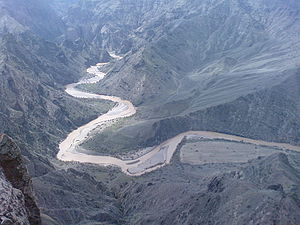 Qizil Üzan - Aerial view of the Qizil Üzan in the border area of Ardabil Province, Zanjan Province and East Azerbaijan Province.