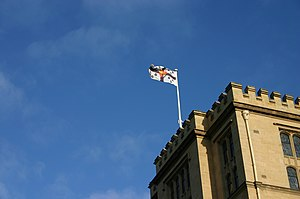 Queen's College (University of Melbourne) - Queen's College iconic tower and flag