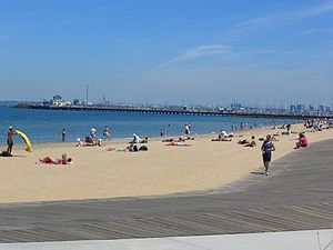 Beaches in Port Phillip - View of St Kilda Beach and pier