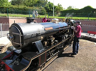 Ravenglass and Eskdale Railway - River Esk, with her driver, Peter van Zeller, on the turntable at Ravenglass station